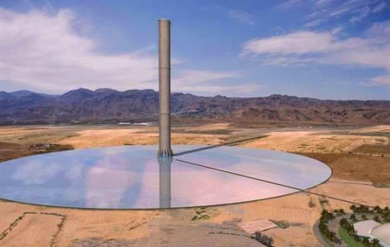 La torre de una planta solar de aire ascendente puede tener hasta 1000 m de altura. Técnicamente, las torres de aire ascendente no son más que torres de refrigeración de ciclo abierto de gran diámetro.