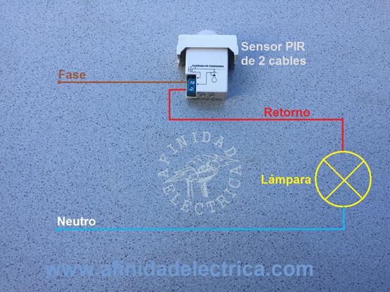 Conexión del sensor de movimiento de dos cables.