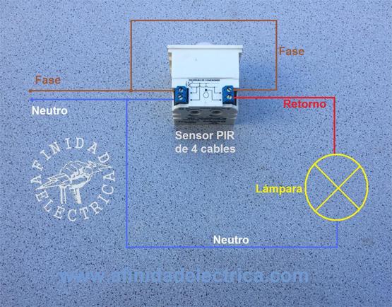 Conexión del sensor de movimiento de cuatro cables.