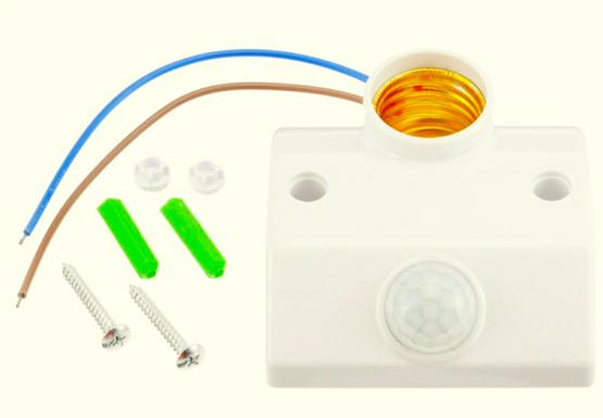 Receptáculo e27 con sensor PIR.