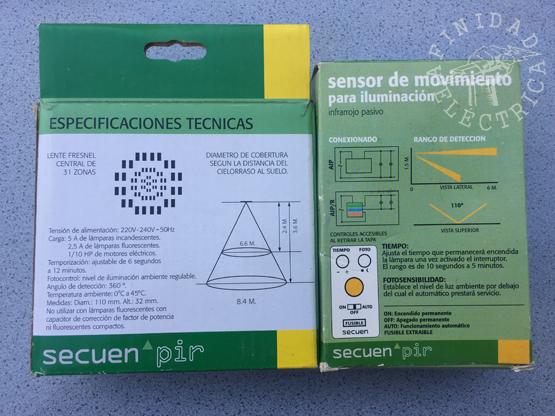 La hoja de datos típica de dos sensores de movimiento PIR.