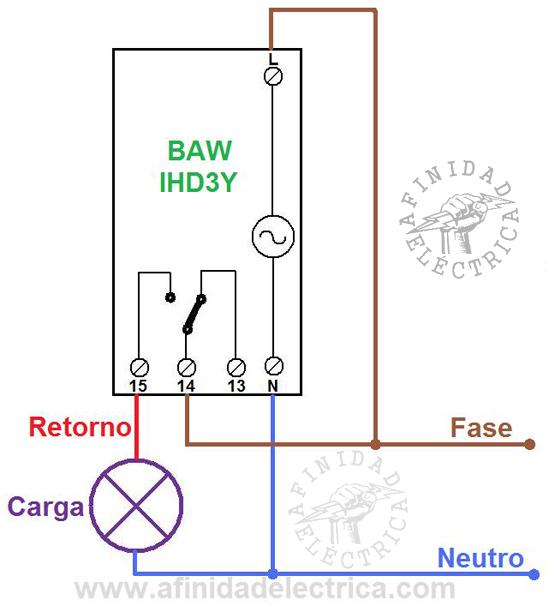 El circuito de conexión directa para una carga de hasta 16 Ampere resistivos o 7 Ampere inductivos que puede manejar este dispositivo.