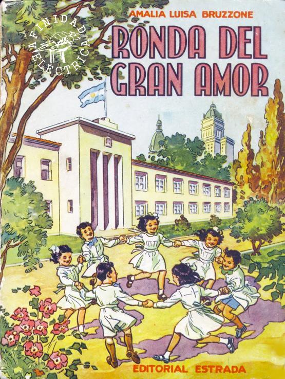 """El texto escolar para tercer grado """"Ronda del gran amor"""" escrito por  Amalia Luisa Bruzone y editado por Ángel Estrada y Cía, en 1953 aborda temas de generación eléctrica."""