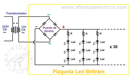 El circuito de las plaquetas led con el transformador externo queda de esta forma.